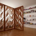 High valued and artistic wood room divider in home library