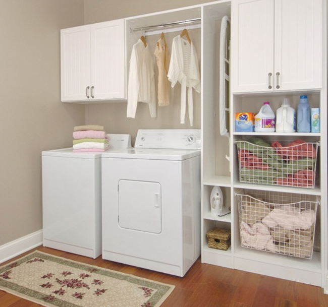 IKEA wall cabinet systemidea with metal rod and shelves for laundry room a washer machine and & Laundry Room Cabinets IKEA | HomesFeed