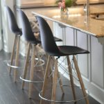 Incredible Restoration Hardware Counter Stool With Three Black Chairs Wooden Legs White Kitchen Dark Wood Floor
