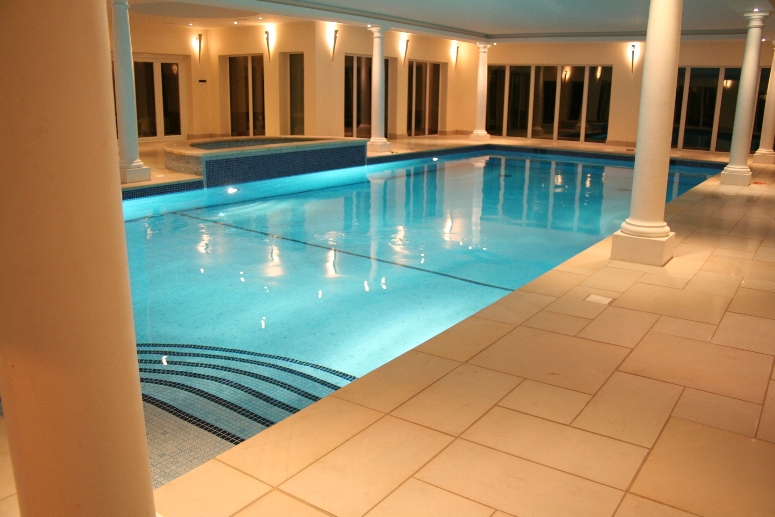 indoor big swimming pool with best lighting