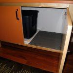 Inside Design Of Orange Wooden Cat Litter Box
