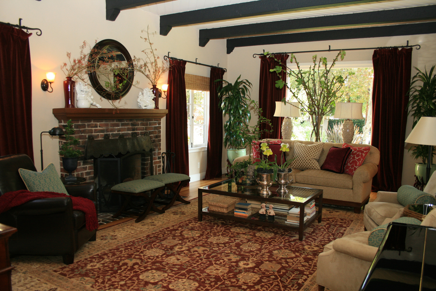 Interior Amazing Classic Spanish Style Of Living Room Design With Stone  Fireplace Red Curtain LArge Carpet