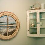 Interior Furniture White Wooden Corner Wall With Glass Door