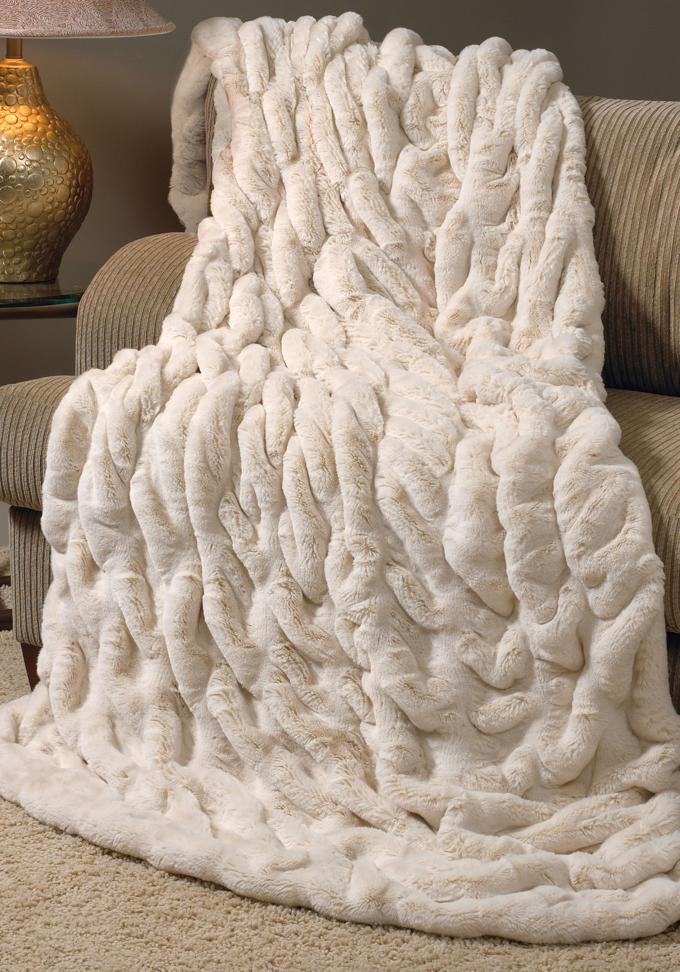 Ivory Mink Couturefaux Fur Blanket Queen Decorated On Comfy Chair Together  With Beige Furry Rug For