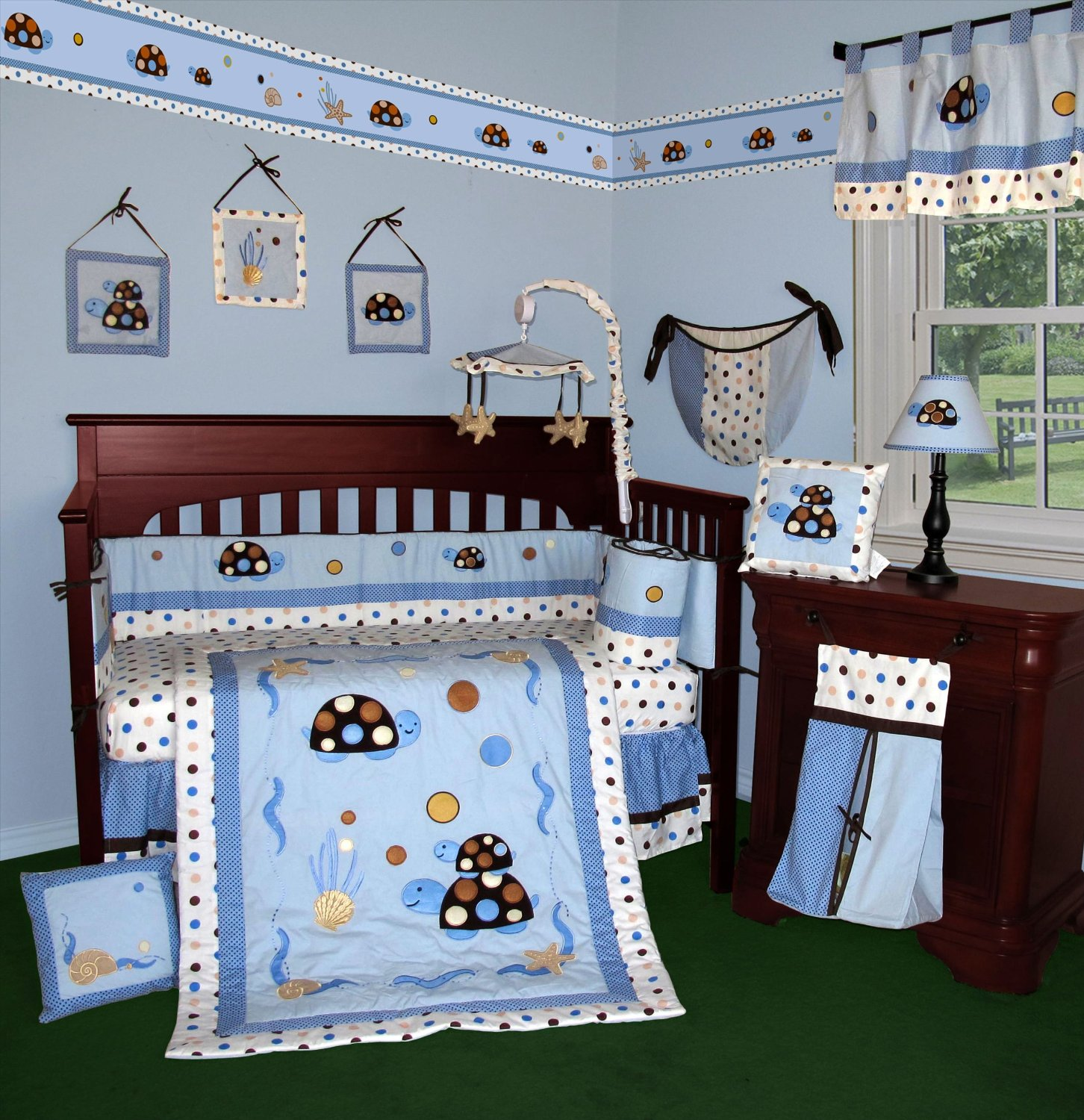 Blue and brown bedding for girls - Kids Wooden Baby Crib Bedding Fish Blue Ocean Dark Furniture And Beautiful Wallpaper
