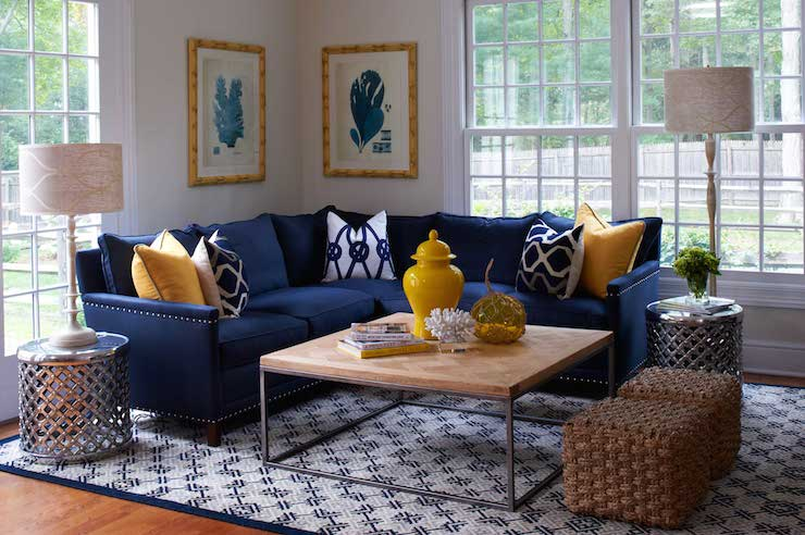 L Shaped Blue Navy Sectional Sofa With Accent Pillows Wood Top Coffee Table  With Metal Base