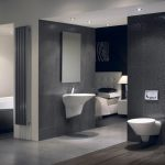 Larga Bathroom With Bedroom And Modern Grey Tiling On Wall And Floor