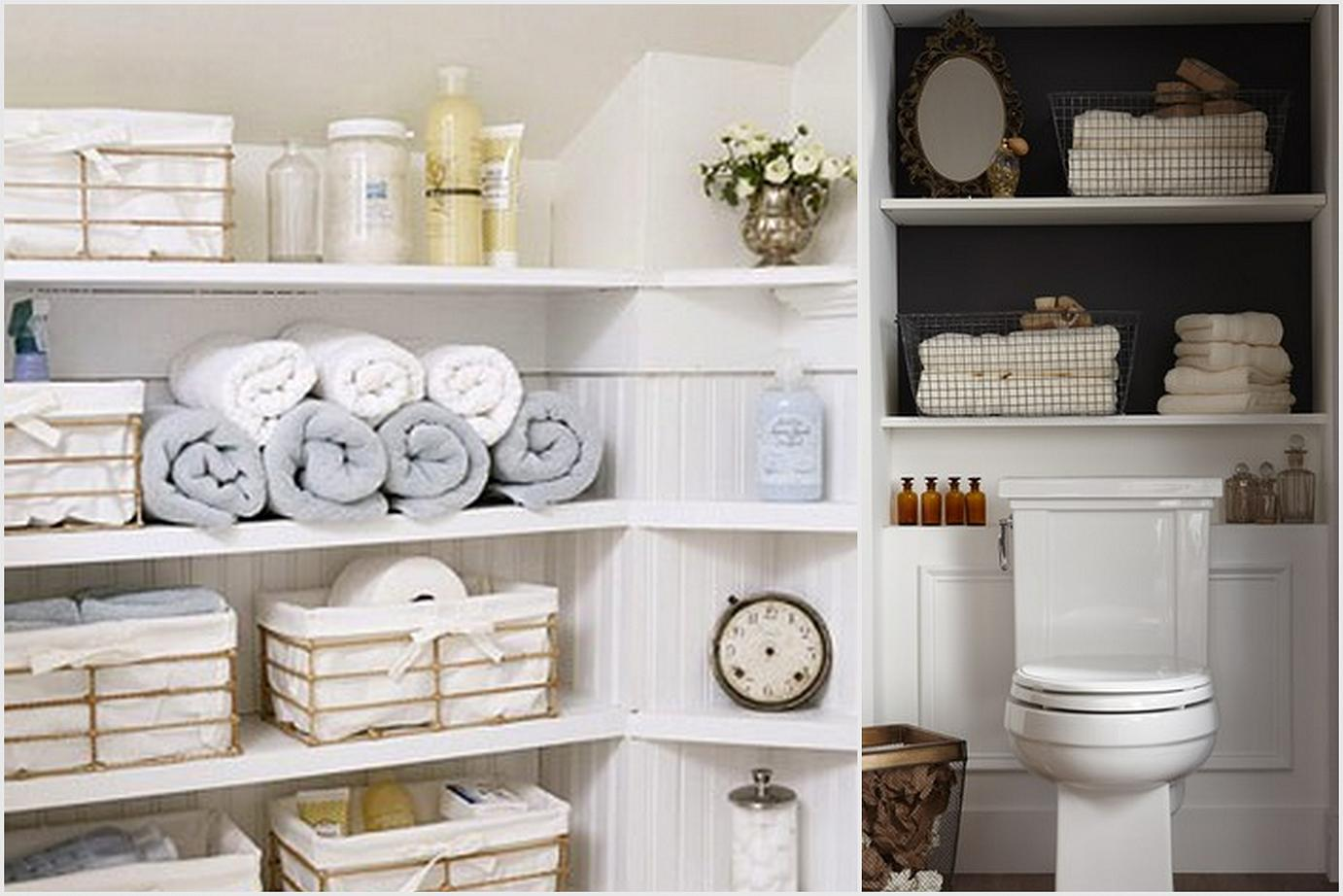 large bathroom closet organizer with additional storage boxes