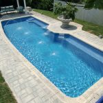 Large pool With Fiberglass Design And Water Fountain