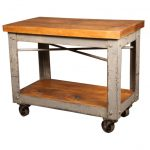 Larger block butcher bar cart with wheels and old look metal structure