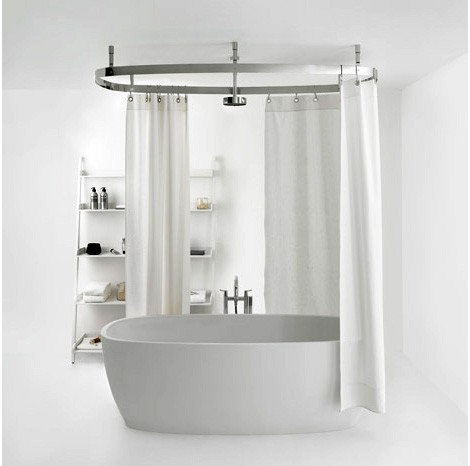 Larger Metal Shower Curtain Rod White Shower Curtain Small Bathtub Idea  Leaning Ladder Shelves Idea For