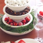 Layered decorative bowls with colorful Christmas balls