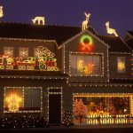Light Decorating House Christmas Deer And Santa Design