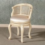 Light cream bedroom vanity chair idea with comfy cushion and backrest feature