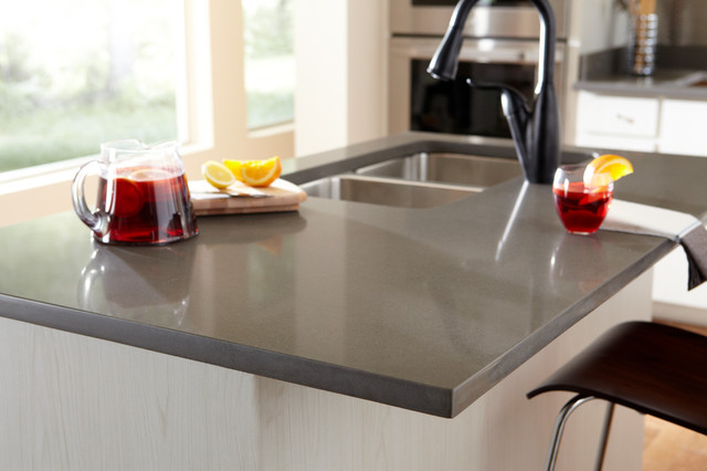 Light Grey Quartz Kitchen Countertop With Double Deep Sinks And Single  Faucet