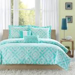 Light teal bed cover idea with modern pattern bed frame with headboard modern wooden bedside table with modern table lamp white shaggy rug for bedroom white window curtain