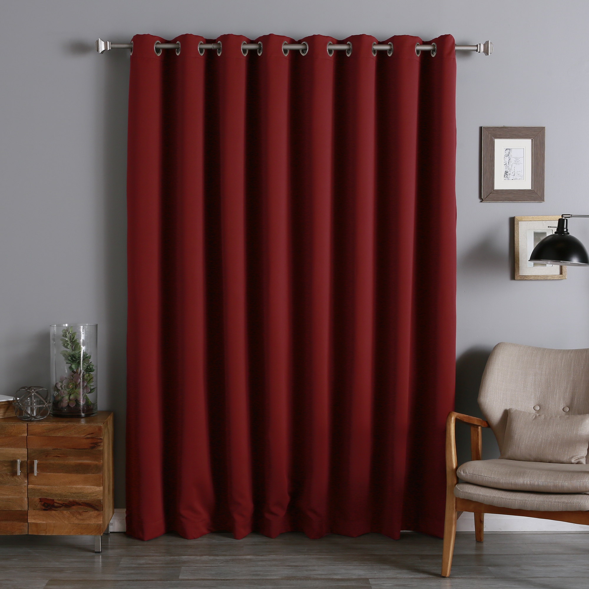 Lights Out Extra Wide Red Blackout Curtain Panel With Chair And Small Cabinet