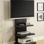 Long And Big Black Wood TV Stand With Three Shelfs