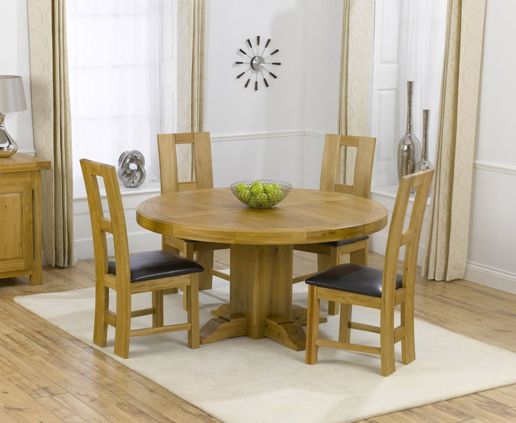 Low profile wood round table with four dining chairs with black leather cushion & Round Dining Table Set for 4 | HomesFeed