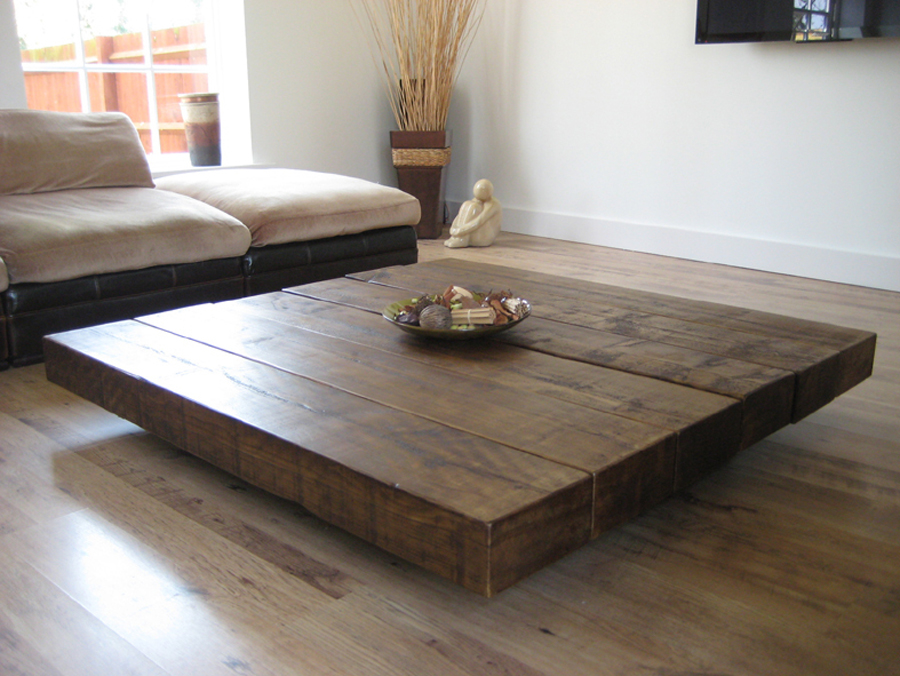 Lower And Oversized Block Butcher Coffee Table Idea For Simple Modern  Rustic Living Room A Microfiber