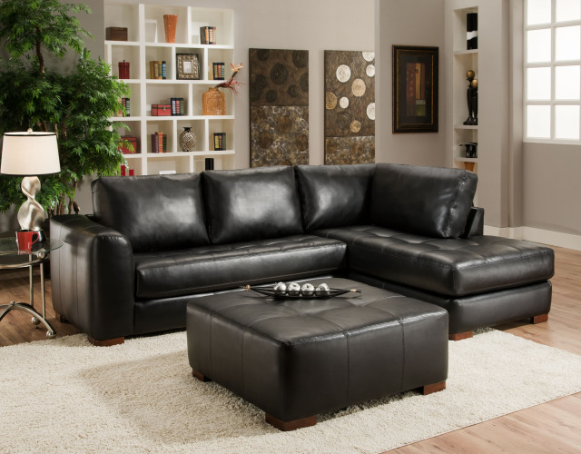 Small sectional sofa with chaise perfect choice for a for Black leather chaise lounge sofa