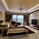 Luxury Home In Living Room With Decorative Furniture Best Chandelier Large Curtains And Modern TV
