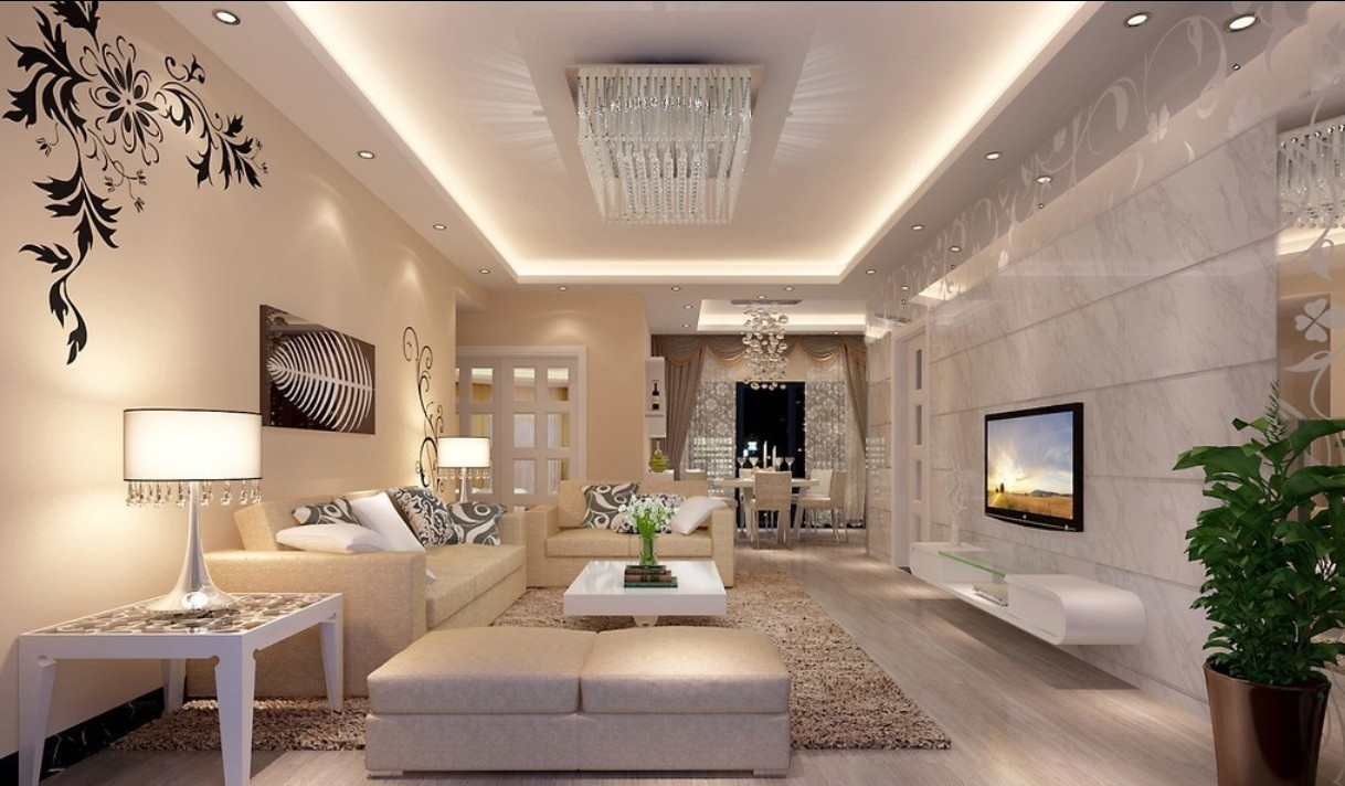 Luxury Living Room With Crystal Decorating In White Theme WIth Sofas Coffee Table Fure Rug And
