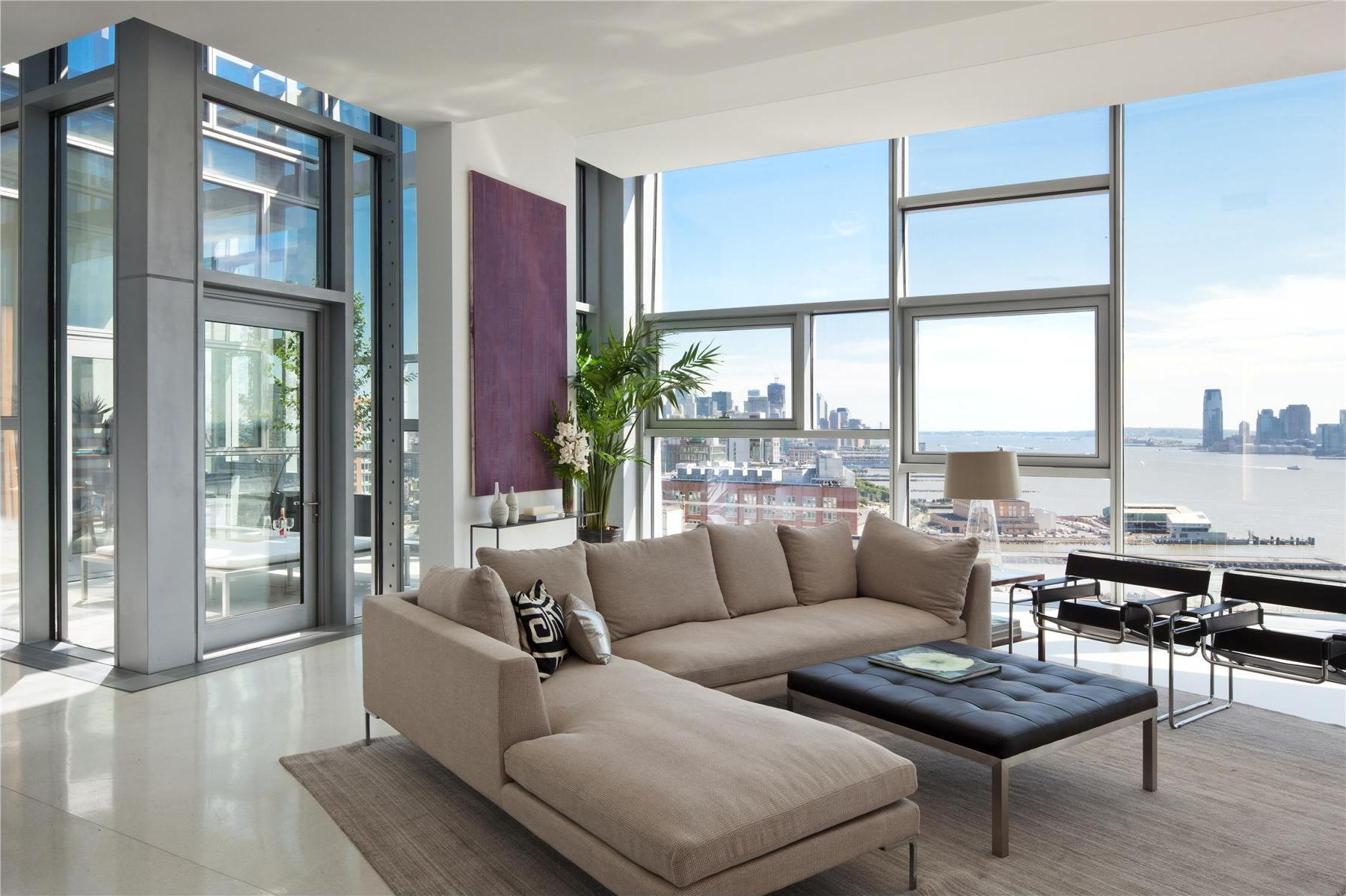 Luxury Manhattan House With Big Wall Windows Brown Sofa And Square Table  With Rug