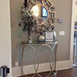 Luxury Stainless Steel Halfmoon Table Entryway With Stylich Round Mirror