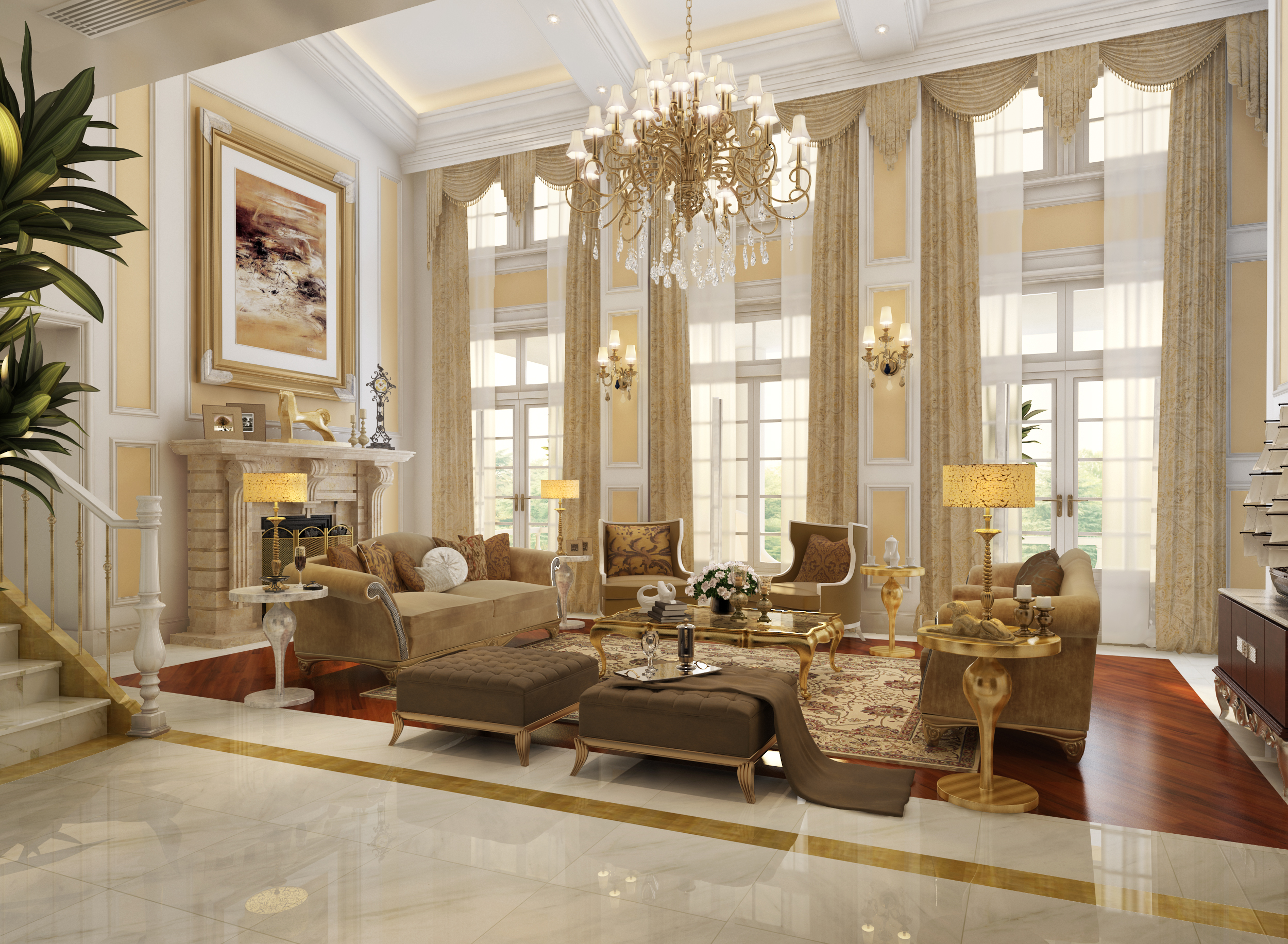 Luxury Victorian Living Rom With Awesome Chandelier Brown Furniture Set Warm Fireplace Marble Ligh Floor And Long Curtains - Elegant Victorian Living Room