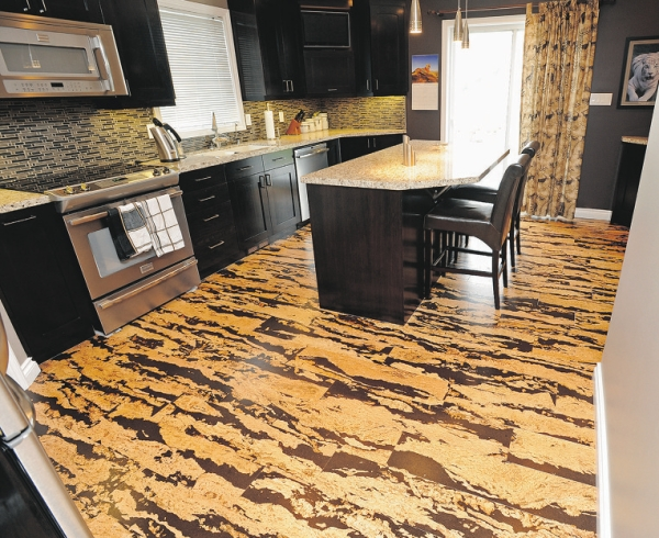 Medium image of marvelous cork kitchen floors idea for modern kitchen a kitchen island with black leather bar chairs