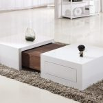 Marvelous white table with drawer and  wooden panel in its center  grey shaggy rug