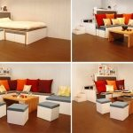 Matroshka-collection-multipurposed-furniture-by-Russion-dolls-using-versatile-pieces-for-white-bed-set-and-red-orange-white-cushions-and-wooden-table-also-white-cubes-as-chair