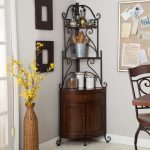Metal And Wood Backer Rack In Grey Wall of Room With Frames Chair  And Vase Inside