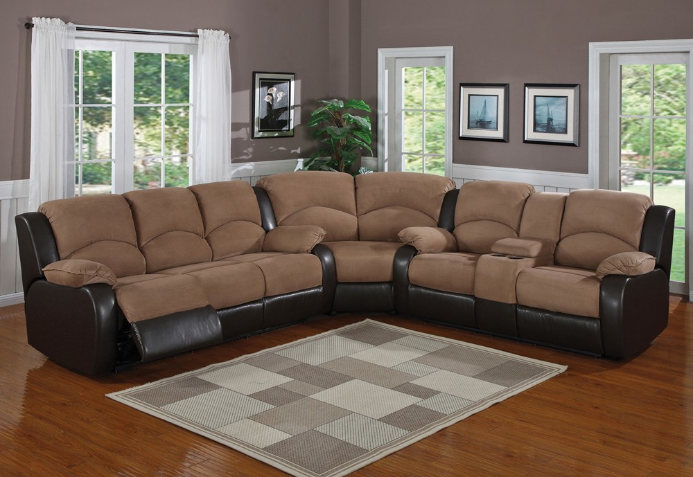 Microfiber reclining sectional furniture with armrests modern area rug in white and grey toned colors & Microfiber Reclining Sectional Create So Much Coziness | HomesFeed islam-shia.org