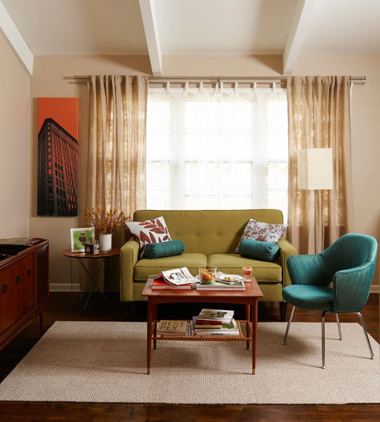 Midcentury Living Room: Mid Century Modern Curtains