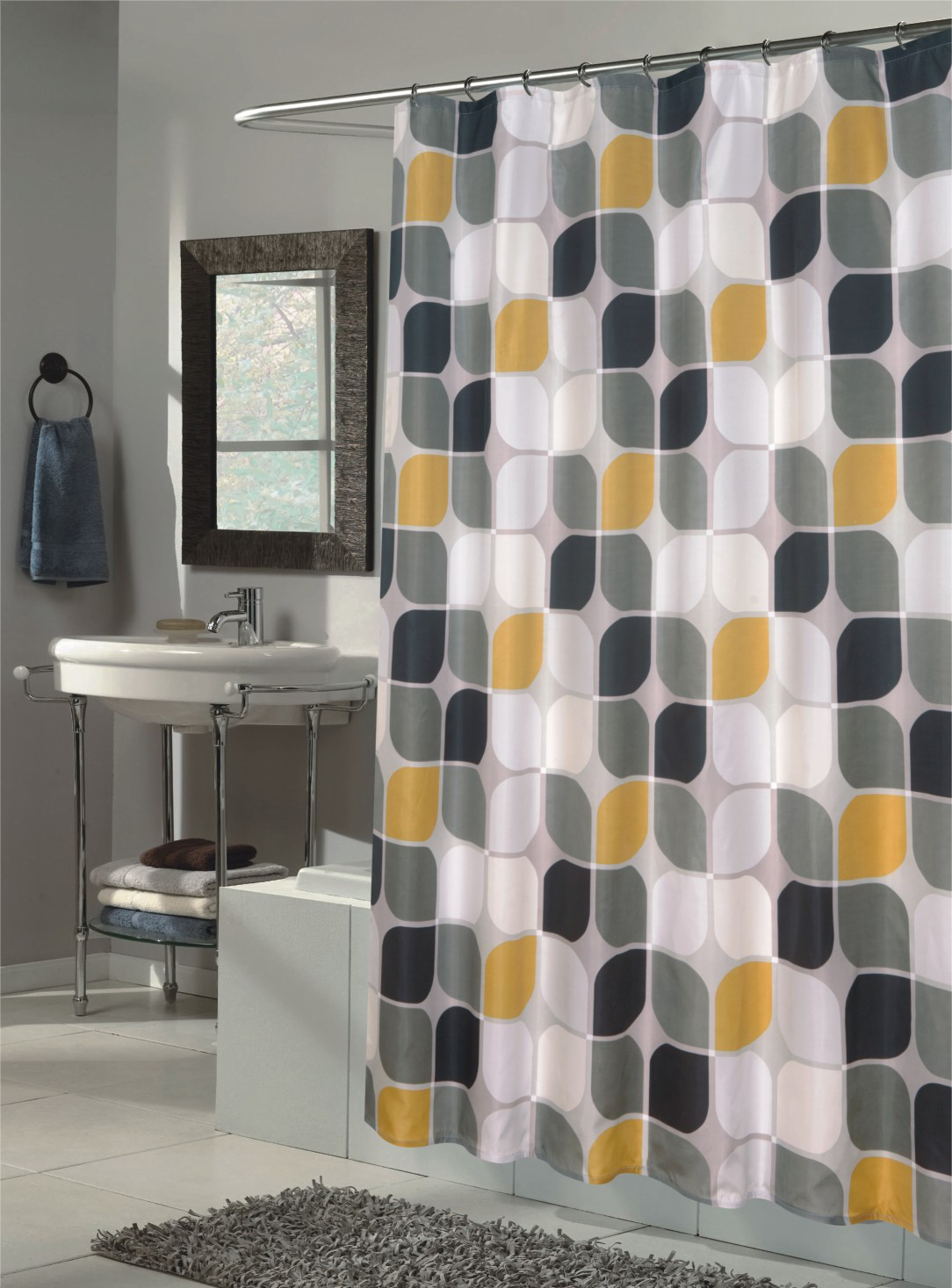 Mid century modern curtains homesfeed Bathroom decor ideas with shower curtain