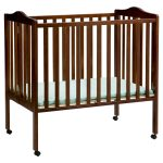 Mini Wooden Brown Crib With Small Mattres