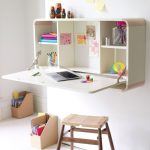Minimalist wall mount folding desk idea in white a single wood bench for seating