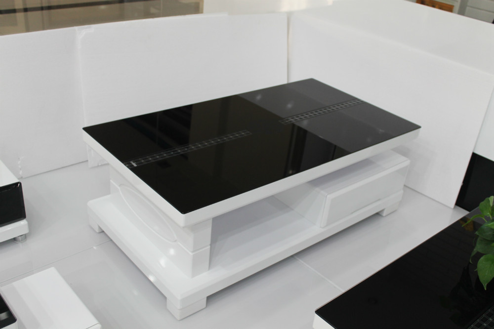 Minimalist White Coffee Table With Under Storage And Black Glass Top