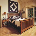 Mission bed furniture idea a console table as the bedside table an accent wall large glass window with wood trims