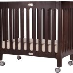 Mobile Wooden Small Crib Dark Brown