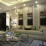 Modern And Luxury Victorian Living Room With Bright Lamp Glass Table White Sofa Stylish Frames And Cool Pattern Of Rug