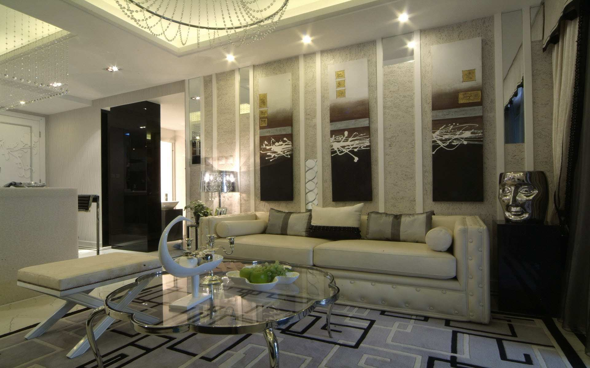 Modern Home Design Living Room. Modern And Luxury Victorian Living Room  With Bright Lamp Glass