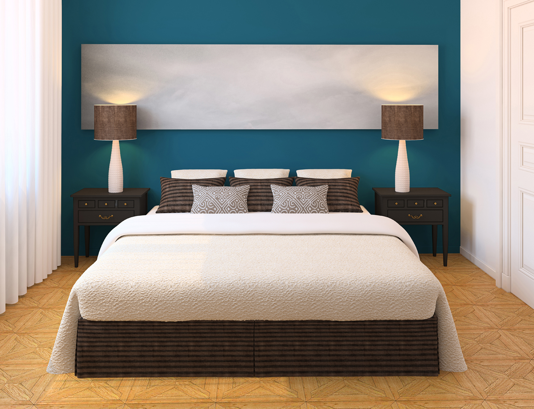 Small Guest Bedroom Paint Ideas. Modern Bedroom Interior Design With White Bed Dark Color Of Pillows And  Lamps Stylish Tile Guest Beds for Small Spaces HomesFeed