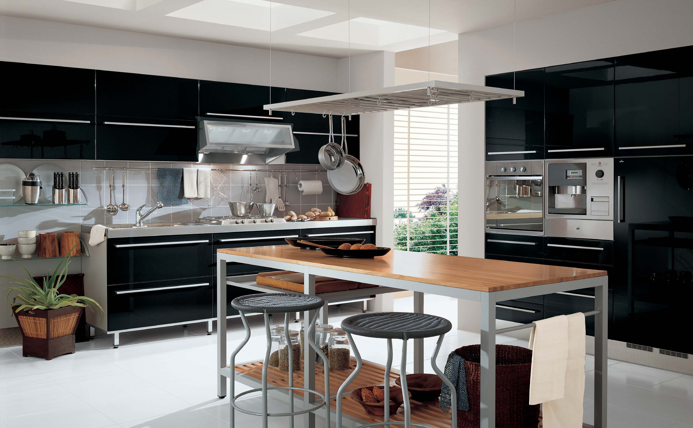 Modern Black And Grey Metal Combination With Wooden Kitchen Table. Modern Interior  Design ...