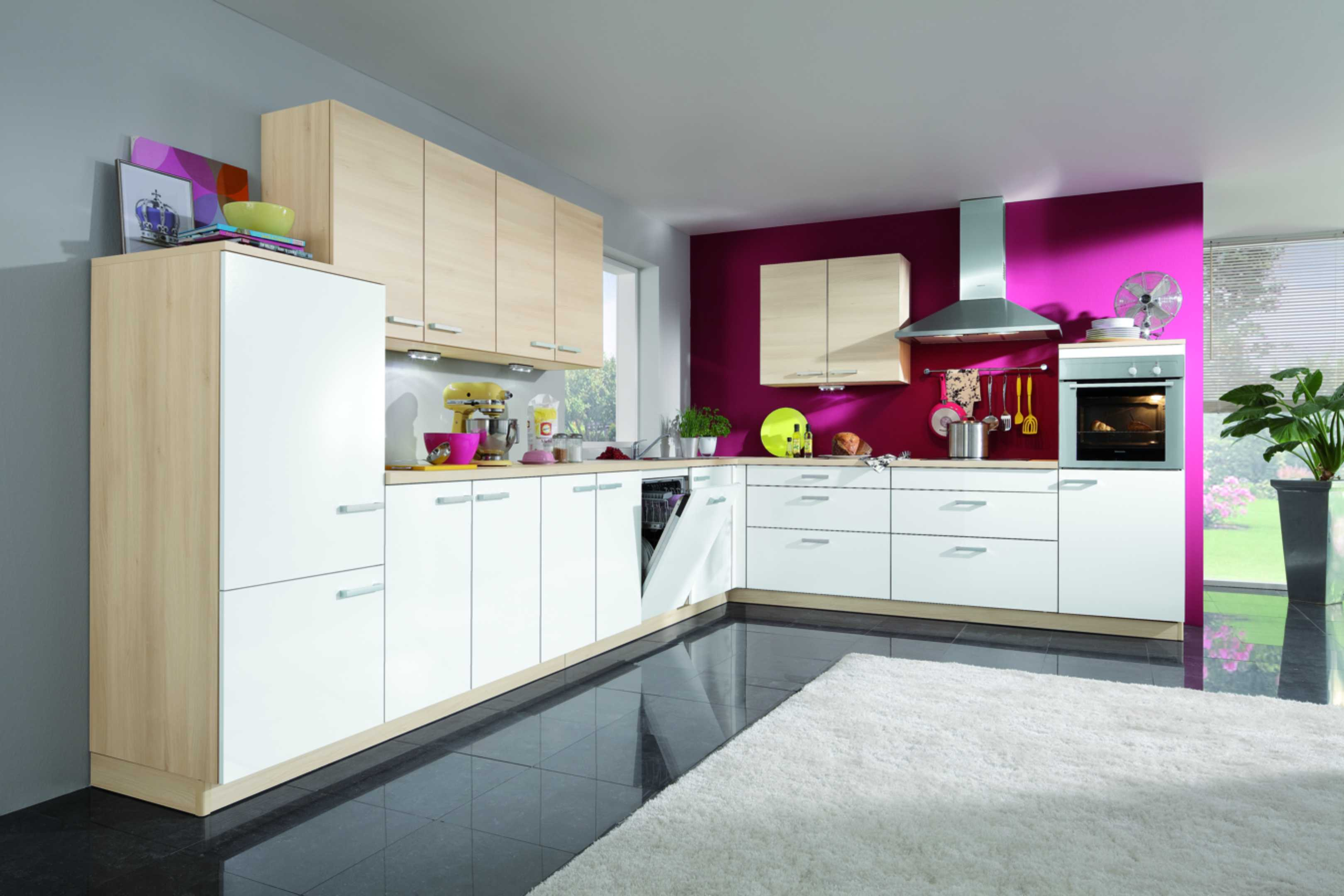 modern interior design of kitchen with wooden set black tile and cream rug - Violet Kitchen 2015