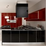 Modern Kitchen With Red And Black Steel
