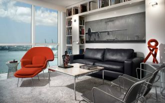 Modern Living Room With Dark Color Of Sofa And Red Chair Glass Table And Fur Rug With Big Shelfs