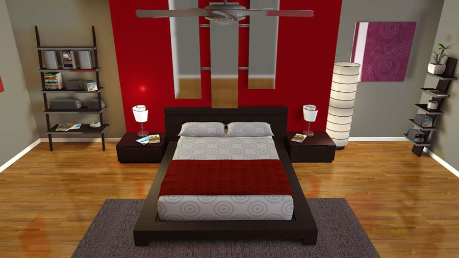 Modern Bedroom Plan In 3 Dimension Made By House Designer Software. Virtual Home  Design In 3D ...